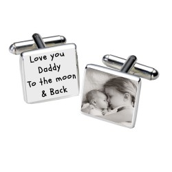 Daddy Love You to the Moon & Back Photo Cufflinks
