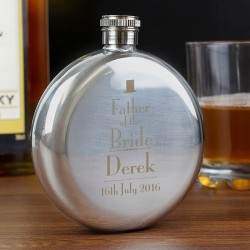 Personalised Father of the Bride Round Hip Flask