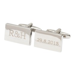 Initials and Date Cufflinks Engraved Wedding Cufflinks