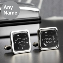 Personalised To the Moon and Back Square Black Cufflinks