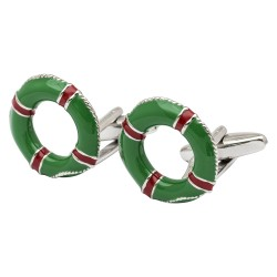 Green and Red Life Buoy Cufflinks
