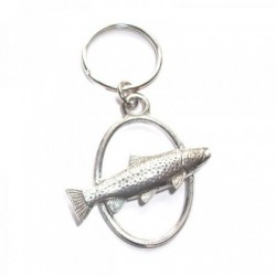 Brown Trout Pewter Key Ring