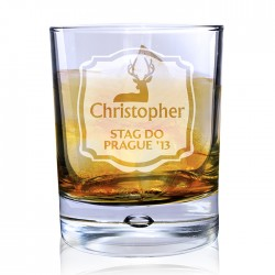 Personalised Stag Tumbler Bubble Glass