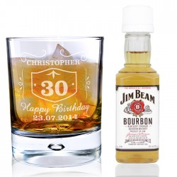 Personalised Whisky Glass and  Bourbon Whisky Miniature Set