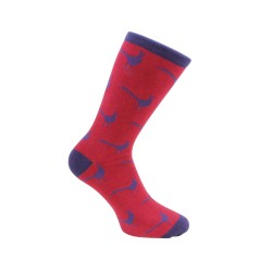 Pheasant Socks - Red and Blue Combed Cotton