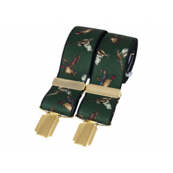 Green Flying Game Birds 35mm gold clip braces
