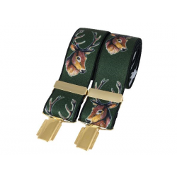 Green Stags Head 35mm Gold Clip Braces