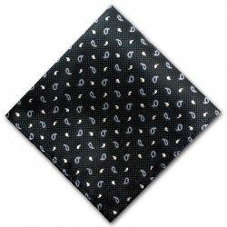 Black and Silver Paisley Pocket Square Handkerchief