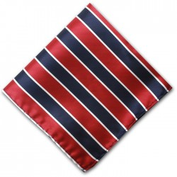 Navy and Red Stripe Pocket Square Handkerchief