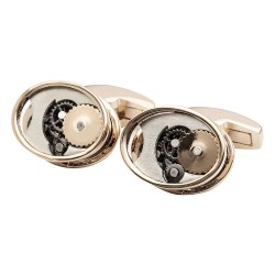 Oval Gears Cufflinks - Rose Gold Edition
