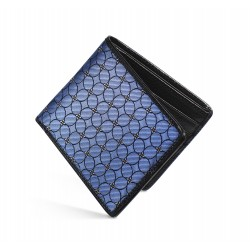 Dalvey Slim Billfold Wallet - Black Caviar Leather & Blue Petal Quadrille