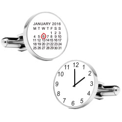 Personalised Special Date and Time Cufflinks - White