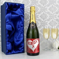 Personalised Rose Petal Champagne Bottle with Gift Box