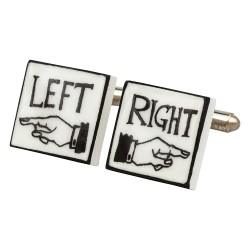 Left and Right Bone China Cufflinks