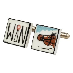Win By A Nose - Horse Racing - Bone China Cufflinks