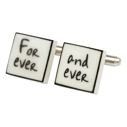 """Forever and Ever"" Bone China Cufflinks"