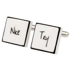 """Nice Try"" Bone China Cufflinks"