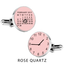 Personalised Special Date and Time Cufflinks - Pink