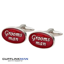 Oval Red - Grooms Man Cufflinks