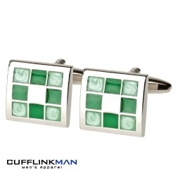 Gradient Green Chequered Cufflinks