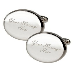 Any Message - Oval Engraved Cufflinks