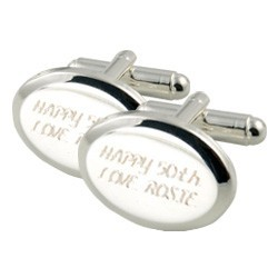 Engraved Silver Plated Bevelled Cufflinks - Any Message
