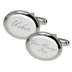 Personalised - Silver Plated Oval Usher Cufflinks