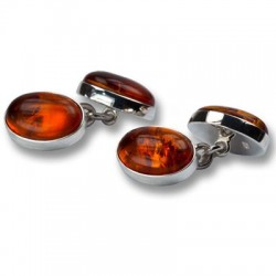 Esquire - Real Amber in 925 Silver Cufflinks