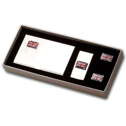 Union Jack Cufflinks/Business Card Holder And Money Clip