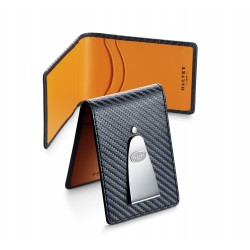 Dalvey - Designer INSIGNIA WALLET Black Carbon Fibre with Orange
