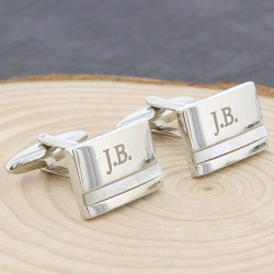 Mother of Pearl Initial Cufflinks - Personalised Engraved Cufflinks