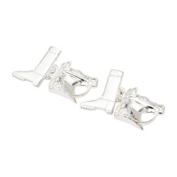 Sterling Silver Jockey's Boot and Horse - Chain-Link Cufflinks