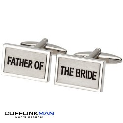 Brushed rhodium - Father of the Bride Cufflinks