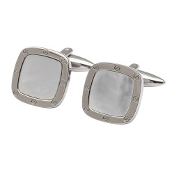 Mother of Pearl Port Hole Cufflinks - Square Edition