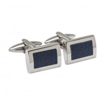 Designer Leather Inlay Cufflinks - Blue