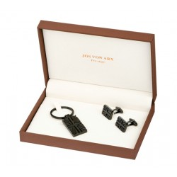 Black Union Jack Cufflinks & Key Ring Boxed Gift Set