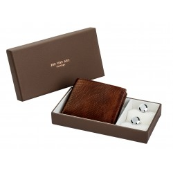 Chester Silver Cufflinks & Leather Wallet Boxed Gift Set