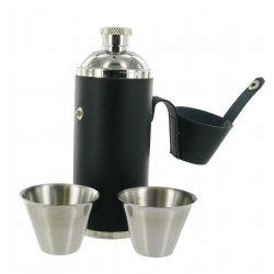8oz Black Leather Hunting Flask with 2 Cups