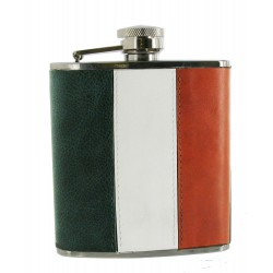 Irish Flag Leather Hip Flask - 6oz Stainless Flask