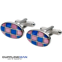 Retro Pave Pink/Blue Cufflinks