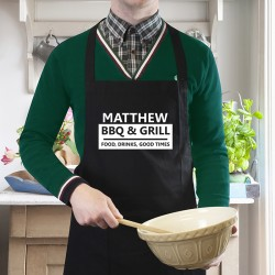BBQ and Grill Black Apron Personalised Apron