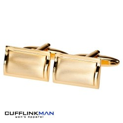 Gold plated Brushed Curved Rectangles Cufflinks