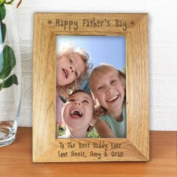Happy Father's Day Personalised Wooden Photo Frame